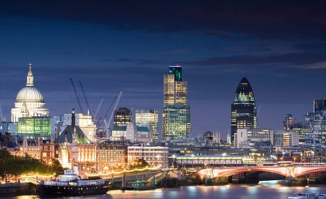 View from Waterloo Bridge towards the Skyline of London, London,